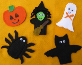 5 Halloween Finger Puppets, handcrafted from felt