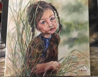 Portrait of Vietnamese Girl in the field, Asia, oil in fabric 40cmx40 cm