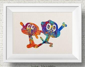 The Amazing World of Gumball- Darvin & Gumball, Art, Print, Watercolor, Kids Art, Home decor, Cartoon Network