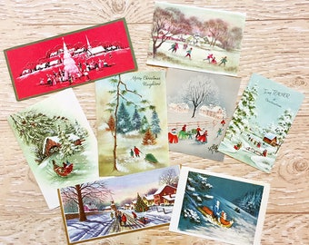 8 Vintage Christmas Cards with Winter Scenes, Midcentury Cards, 1950s-1960s Christmas Cards Snow Scenes #2