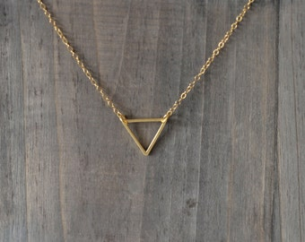 Triangle Necklace / Geometric Steel Pendant on 14K Gold Filled Chain