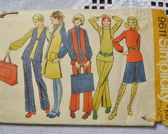 Vintage Simplicity 9611 Sewing Pattern Young Junior Teens Top Skirt Vest Pants Bag Size 7 8 Crafts  DIY Sewing Crafts PanchosPorch