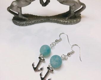 Anchor & Aqua Marble earrings
