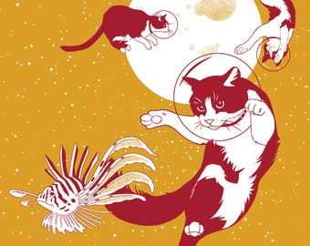 Space Cats (Voyages Extraordinaires)    A3 Illustrated Poster, Digital Print