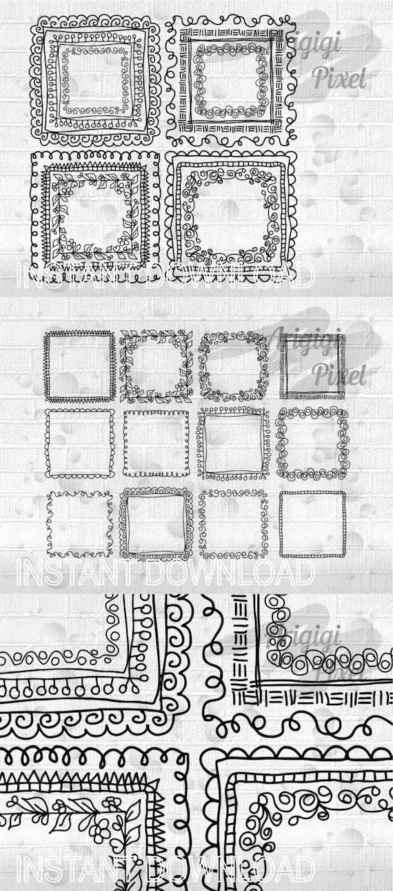 Doodle quadratischen Rahmen clip Art-Set von Hand gezeichnete