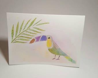 Watercolor exotic bird greeting card