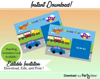 Digital Download Transportation Theme Thank You Card, Digital Download Birthday Thank you Cards, Cars, Trucks, Planes, Train, Choo Choo