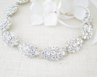 Crystal headpiece bridal, Boho hair accessory, Wedding hair jewelry, Crystal hairpiece, Rhinestone bridal halo, Marquise hairpiece