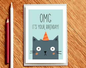 Funny Birthday Card, Funny Cat Card, Friend Birthday Card, Funny Love Cards, Best Friend Card, Boyfriend Card, Funny Friend Card, Funny Card