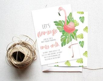 Flamingo Baby Shower Invitation, Tropical Leaf,  Printable Invite (715)