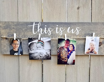 This is us wooden sign | Family sign | Picture display | Family picture holder | Hand painted sign