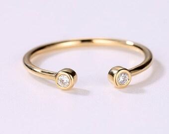 Open Diamond wedding Band Bezel set Simple Diamond Ring 14K Solid Gold Ring Thin Dainty Stacking Diamond Ring Cuff Ring Promise petite