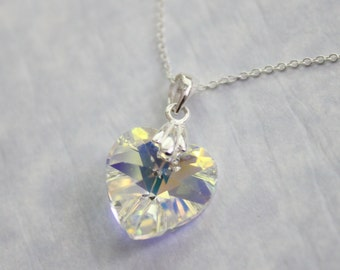 Heart Necklace, Crystal Heart Pendant on Sterling Silver Necklace Chain