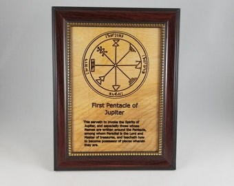 First Pentacle of Jupiter.  This laser engraved wood plaque is framed. Size is 5 x 7 inches.