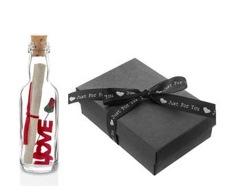A Romantic Gift for Him or Her Personalised Message in a Bottle with Gift Box Boyfriend/Girlfriend