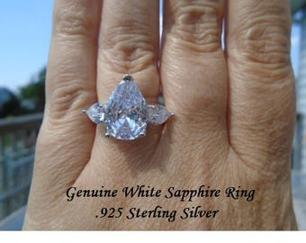 11 ct White Sapphire Ring Size 7 or 8