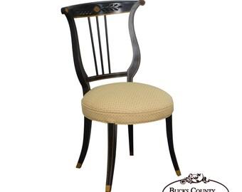Delicieux Regency Style Vintage Black U0026 Gold Lyre Back Side Chair