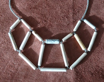 "Necklace made from recycled clay pipe fragments collected from the River Thames (""Polygons"" NSQ5)"