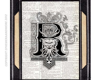 Letter R art print Initial Monogram Alphabet Typography Roses Crow Raven Gargoyle wall decor on vintage dictionary text book page 5x7, 8x10