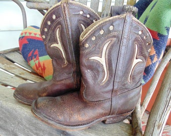 HTF 1930's TOM MIX boys leather cowboy boots vintage wester decor