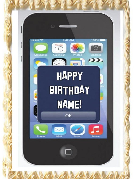 Cell Phone Iphone Theme Party Edible Cake Topper Image