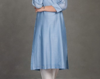 Sky blue long tunic