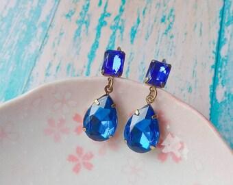 Blue Art Deco Earrings Great Gatsby Earrings Sapphire Earrings Vintage Style Earrings Downton Abbey Earrings Art Nouveau Style Jewelry