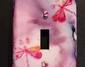 Dragonfly Switch Plate - Pinks- Hand Painted- Wall Decor