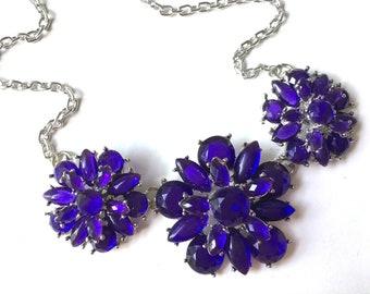 SALE! Purple Statement Necklace, Rhinestone chunky necklace, Flower purple Pendant Jewelry, purple chunky beidesmaid necklace jewelry