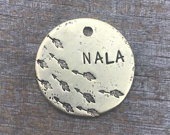 Pet ID Tag, Dog Tag, Dog Tag for Dogs, Dog Tag with Arrows, Boho Arrows, Boho Dog Tag, Arrows Dog Tag, Handstamped Dog Tag