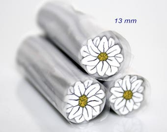 White Daisy polymer cane / raw cane / sale individually