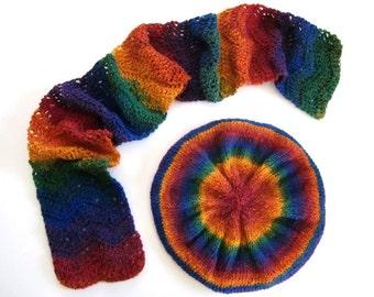 Concepteur main Crochet tricot Bonnet et écharpe Set
