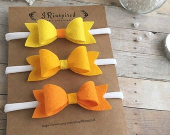Baby Felt Headband, Baby Wool Blend Felt, Bow, Felt Bow, Yellow, Tangerine, Orange, Sunshine
