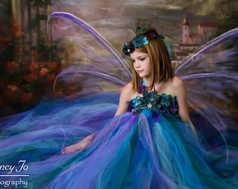 Peacock Fairy Dress / Festival Clothing / Fairy / Princess Dress / Girls Dresses / Flower Girl Dress / Formal Dress / Summer Dress / Fairies