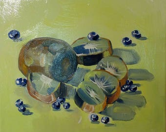 Kiwis and Blueberries Oil Painting