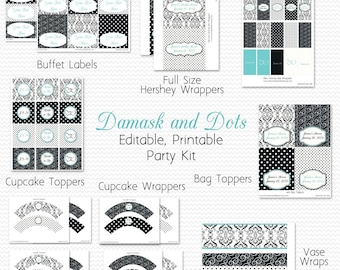 Wedding Shower Printable Party Package, Bridal Shower Decor, Damask and Dots, Black and White, Robin's Egg Blue - Editable, Instant Download