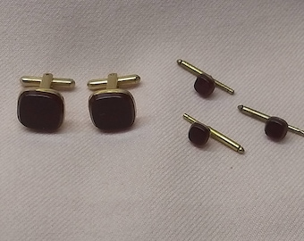 20% OFF SALE Vintage 1940's Hickok Cuff Link Stud Set 5 Pc Deep Red Glass in Gold Metal #B1140