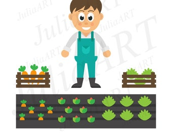 cartoon man with vegetables and garden vector image