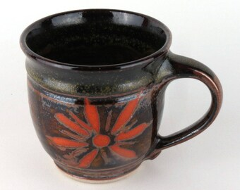 Stoneware Mug - 16 oz. - Coffee Cup - Latte Mug - Teacup - Rich Brown / Handmade wheel thrown pottery