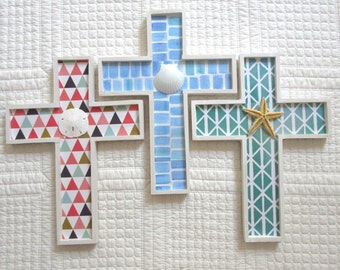 Colorful Cross Beachy Cross Christian Nursery Decor Cottage Decor Seaglass Blues Green Teal Coral Cross with Shell