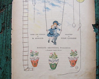 Vintage CHILDS BOOK PAGE..1886...charming, supply, mixed media, paper,