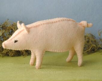 Printable PDF Felt Pig Sewing Pattern * Sew Your Own Stuffed Pig Toy * Barnyard Felt Animals