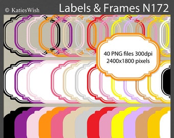 Labels and Frames Digital Clip Art Kit  PNG files Instant Download N172