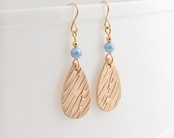 Modern Teardrop Earrings,  Dangle Drop Bronze and Swarovski Pearl, 14K Gold Filled Earwires, 8th  Bronze Anniversary Gift for Her