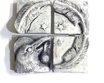 Raven art tile, set of 4, wall sculpture, art tiles, raven tile, decorative tiles, bas relief sculpture, backsplash tile, crow tile, bird