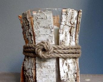 Tabletop Birch Candleholder - Natural Decor - Tealight