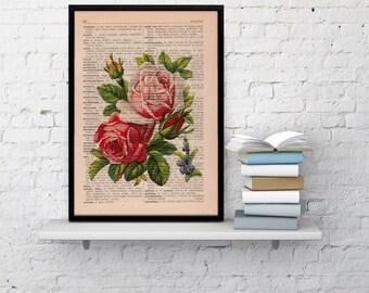 Vintage Book Print Dictionary or Encyclopedia Page Print- Book print Roses Bouquet on Vintage Book art BFL043