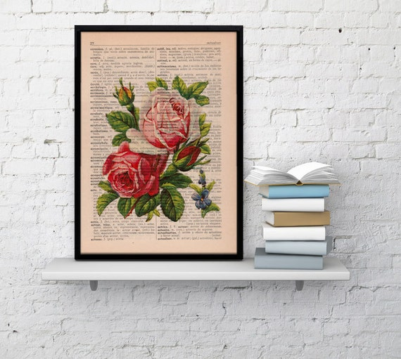 Vintage Book Print Dictionary or Encyclopedia Page Print- Book print Roses Bouquet on Vintage Book art BFL043