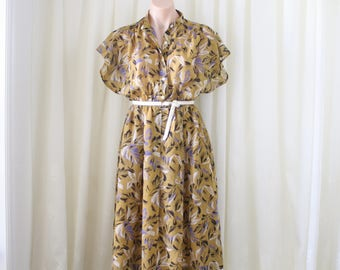 Mustard Floral 80s Day Dress, Medium 4294