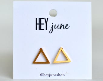 open triangle stud earrings, triangle stud earrings, gold open triangle earrings, silver open triangle earrings, minimalist earrings,